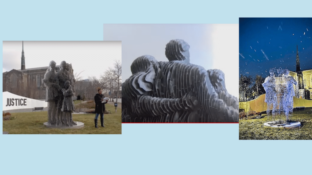 "Collage of ""Our Single Grament of Destiny"" sculpture, Columbus, OH 1/21/18"