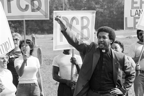 Ben Chavis at demonstration in 1980s