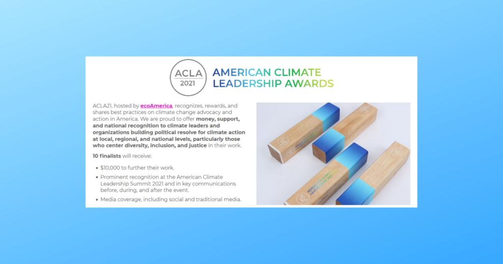 American Climate Leadership Awards 2021 screen shot