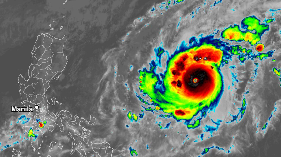Typhoon Goni approaches Manila Philippines