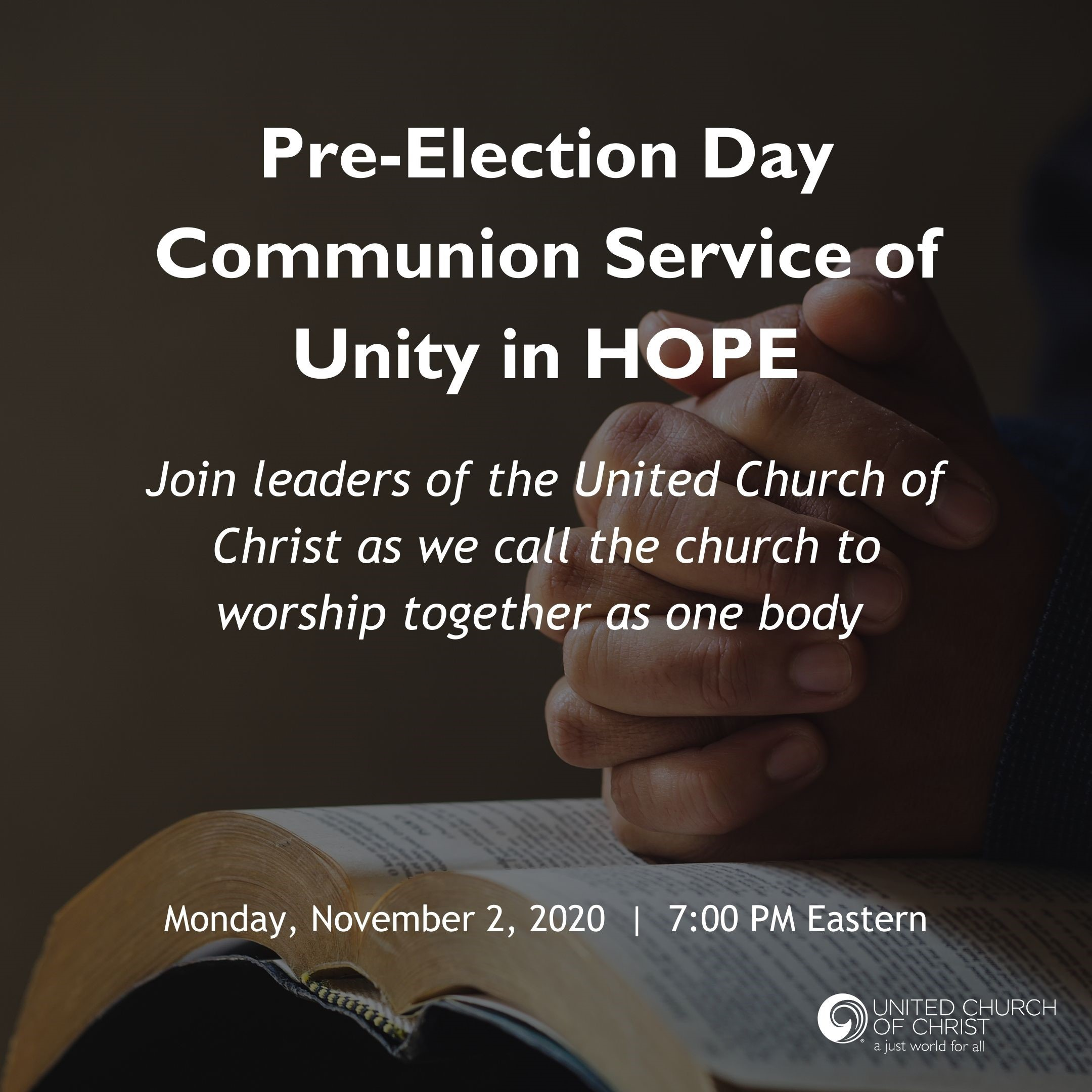 Pre-election worship service image for 11/2/20