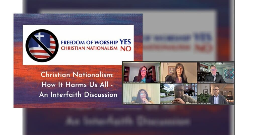 Christian nationalism webinar logo with screen shot of 6 participants, 3/18/21