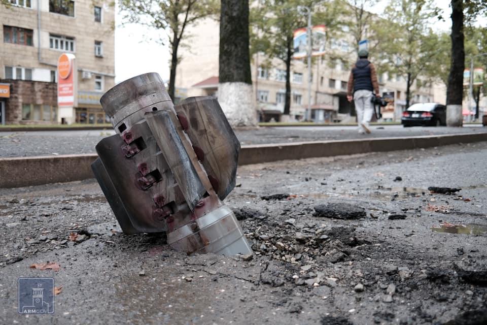 Artillery shell, Stepanakert, Nagorno-Karabakh, October 2020. Photo provided by the Armenian Missionary Association of America.