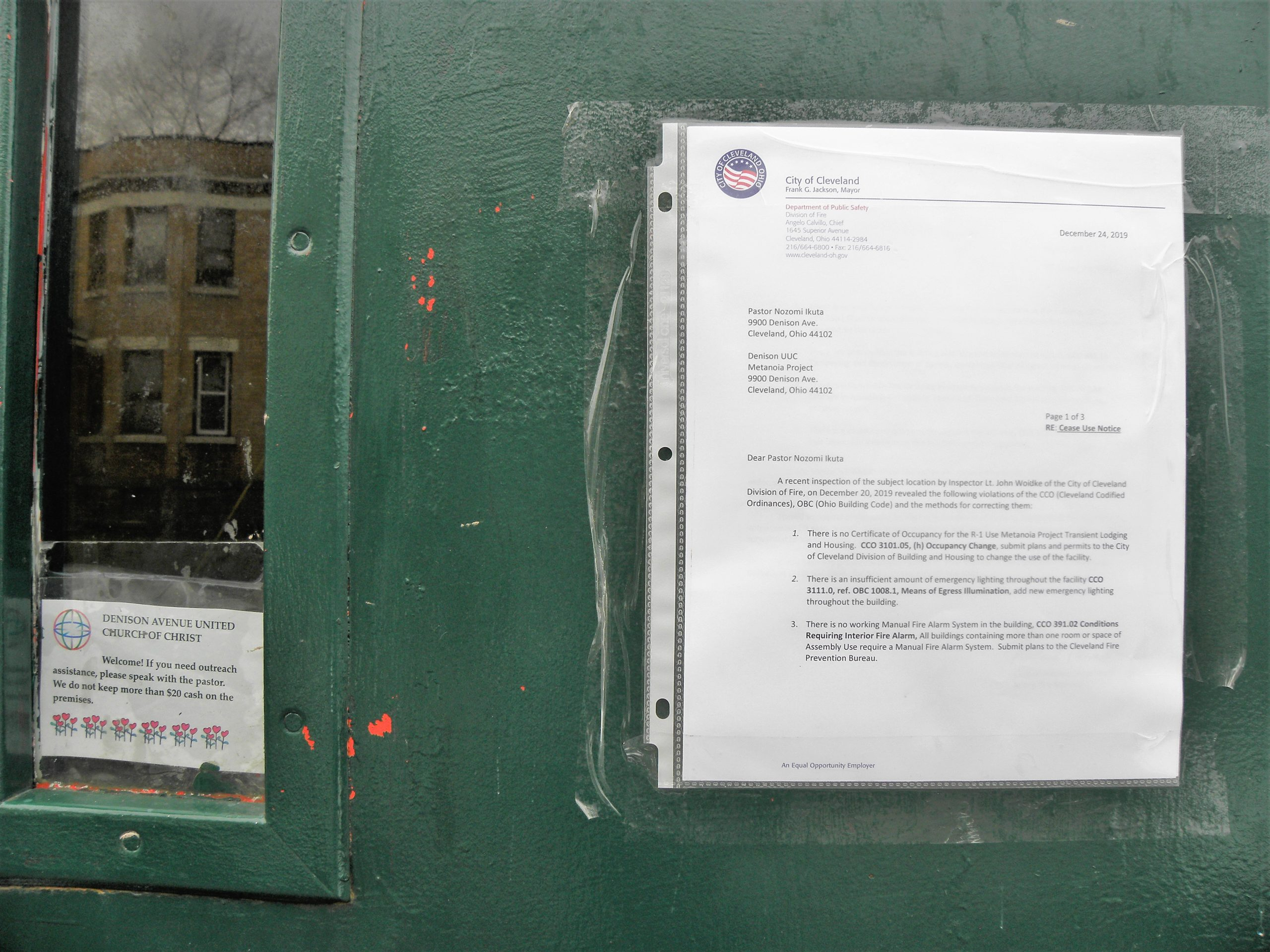 Cease-use order, Denison Ave. UCC, 1/11/20