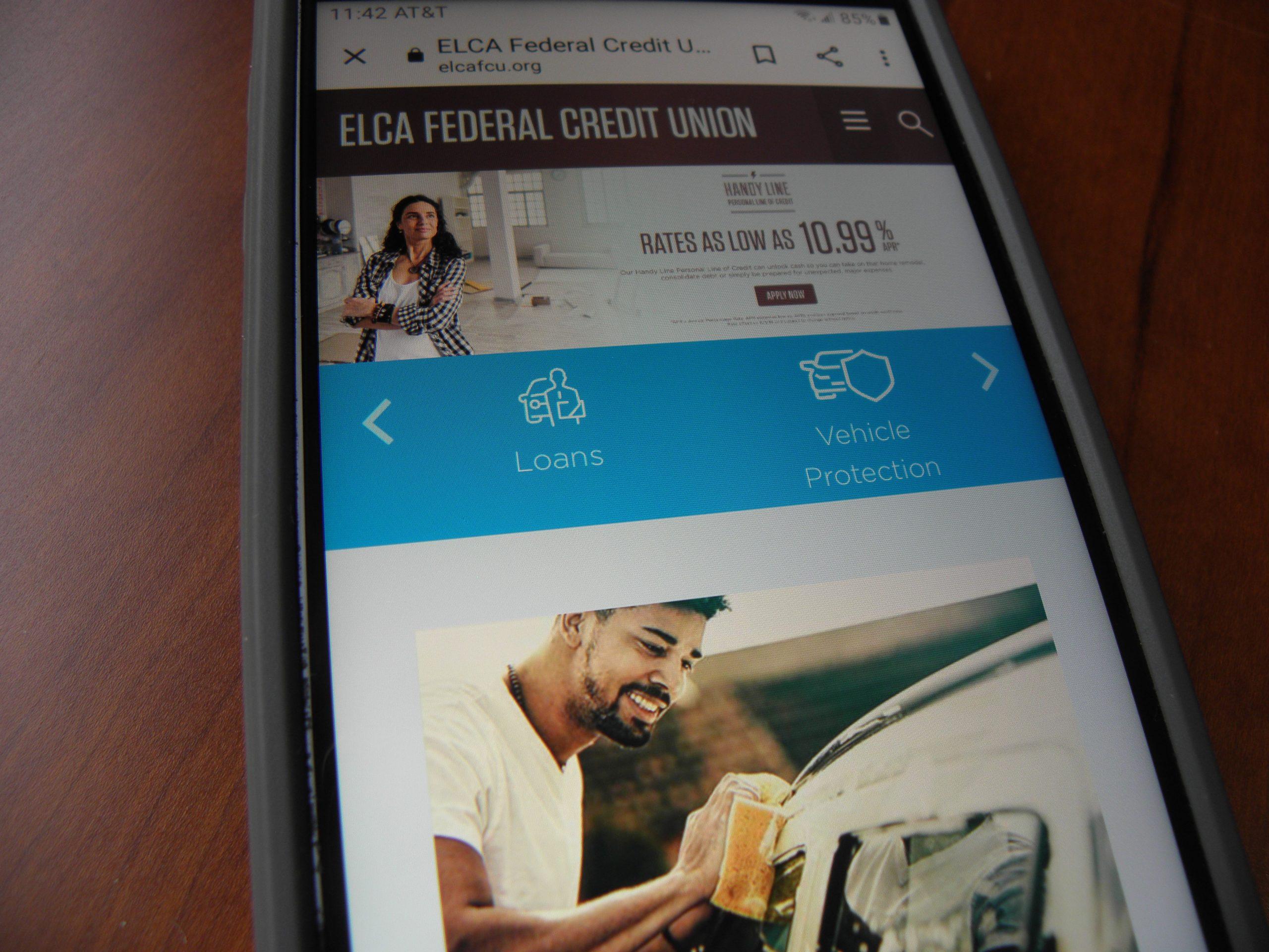 ELCA FCU screen shot on phone
