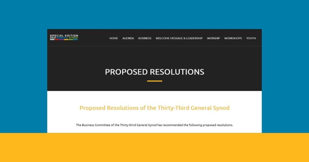 Screenshot of Synod webpage containing resolutions, 3/18/21