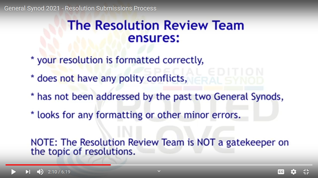 Screen shot from 10/20/20 video on GS resolutions