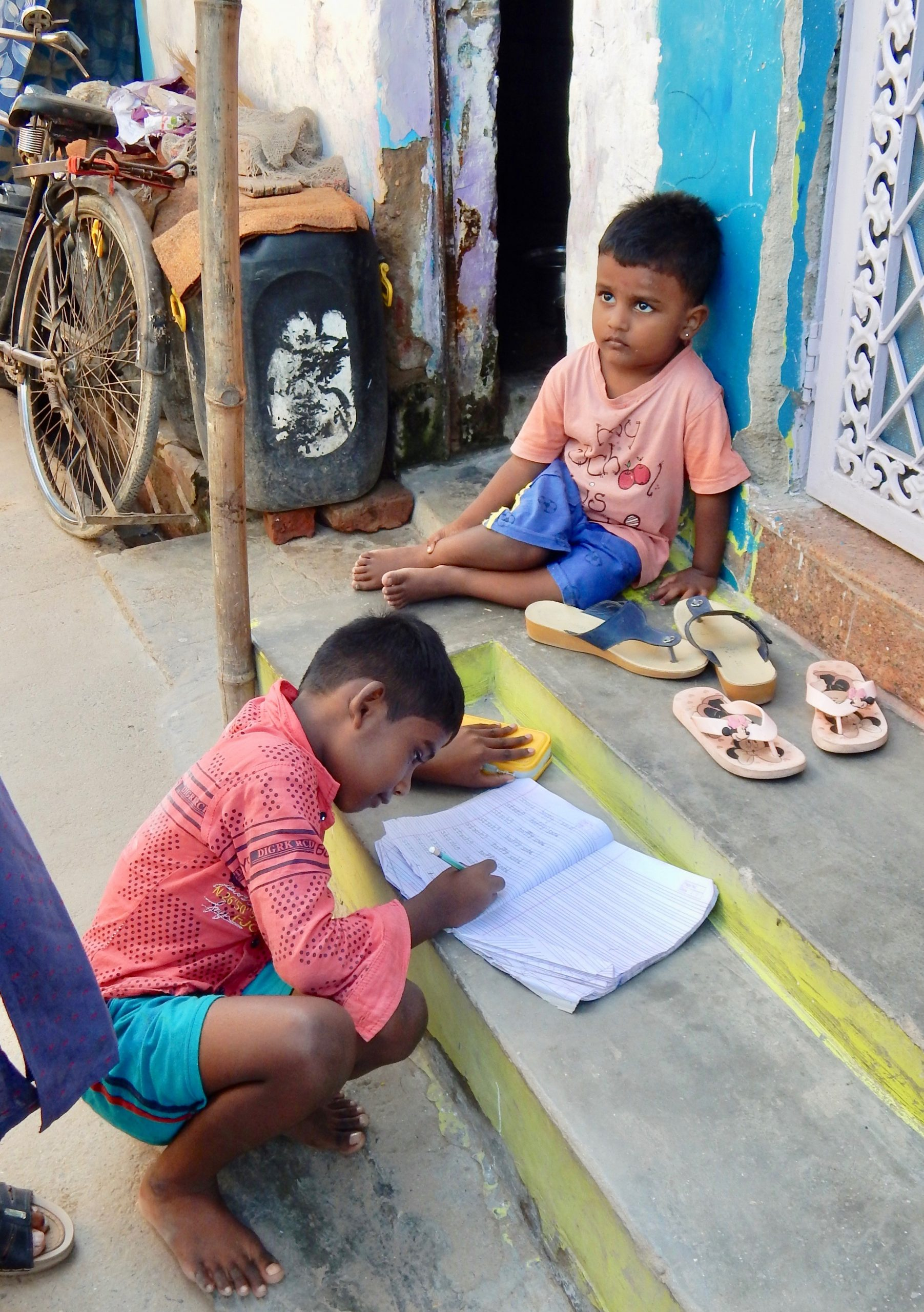 Two children in New Delhi slum community 2019