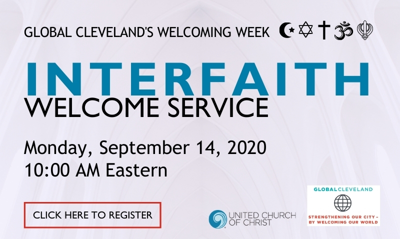 Global Cleveland Welcoming Week interfaith prayer service flier, 9/14/20