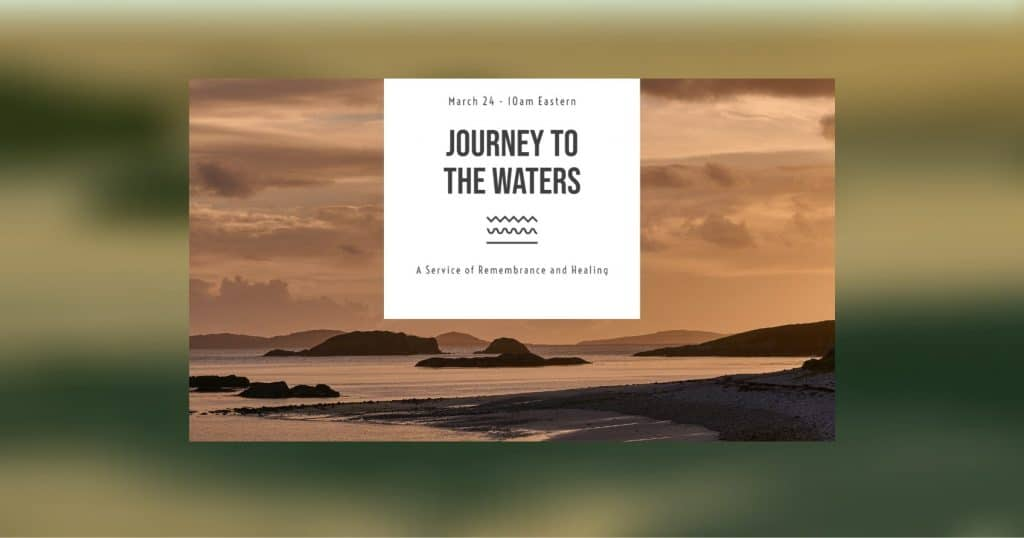 """Logo of """"Journey to the Waters"""" webinar, 3/24/21"""