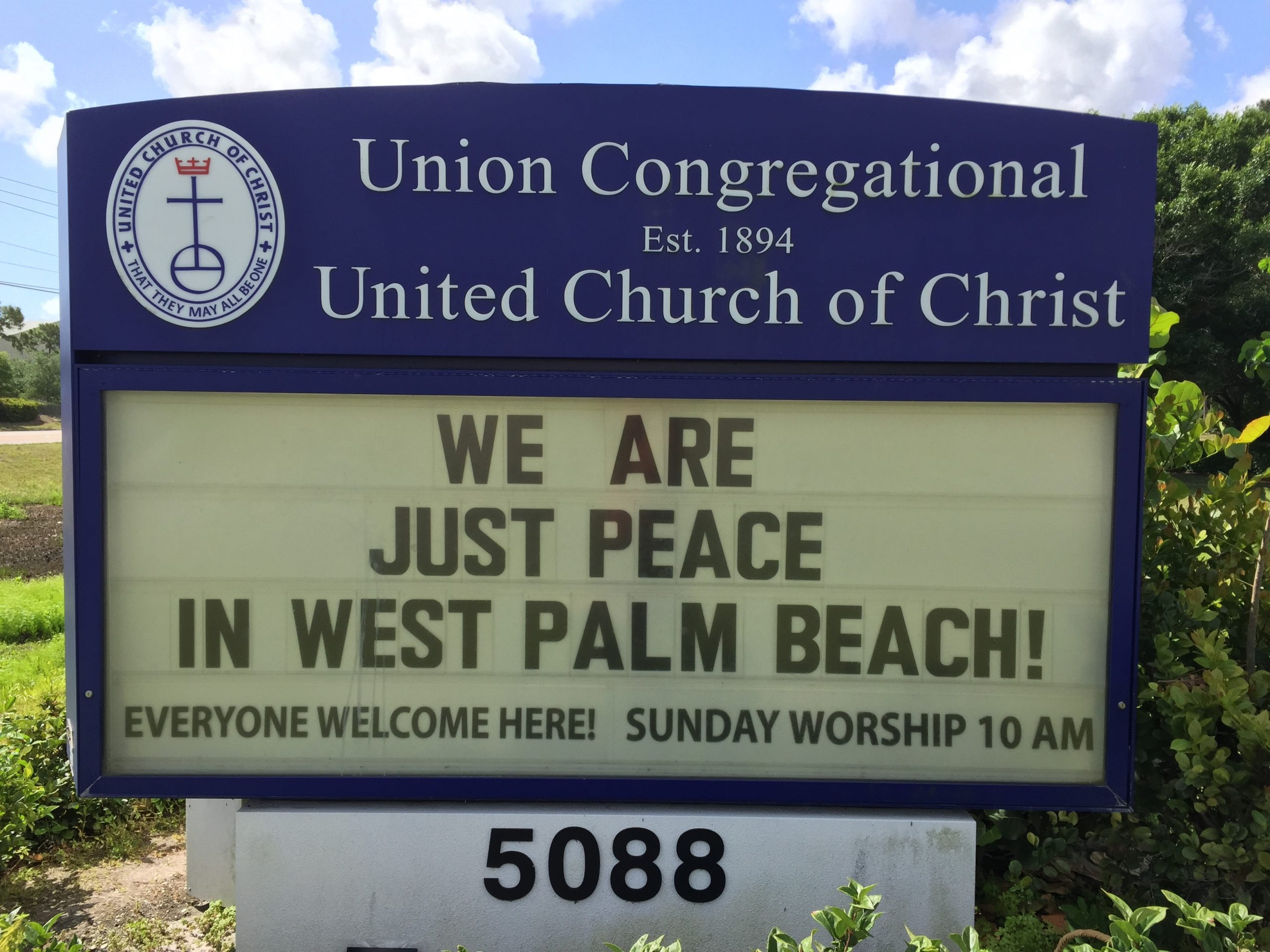 Union Congregational UCC church sign