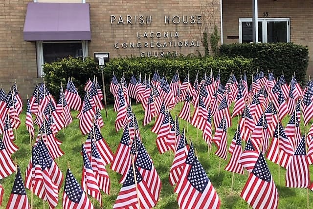 Laconia Congregational UCC lawn flags, May 25, 2019
