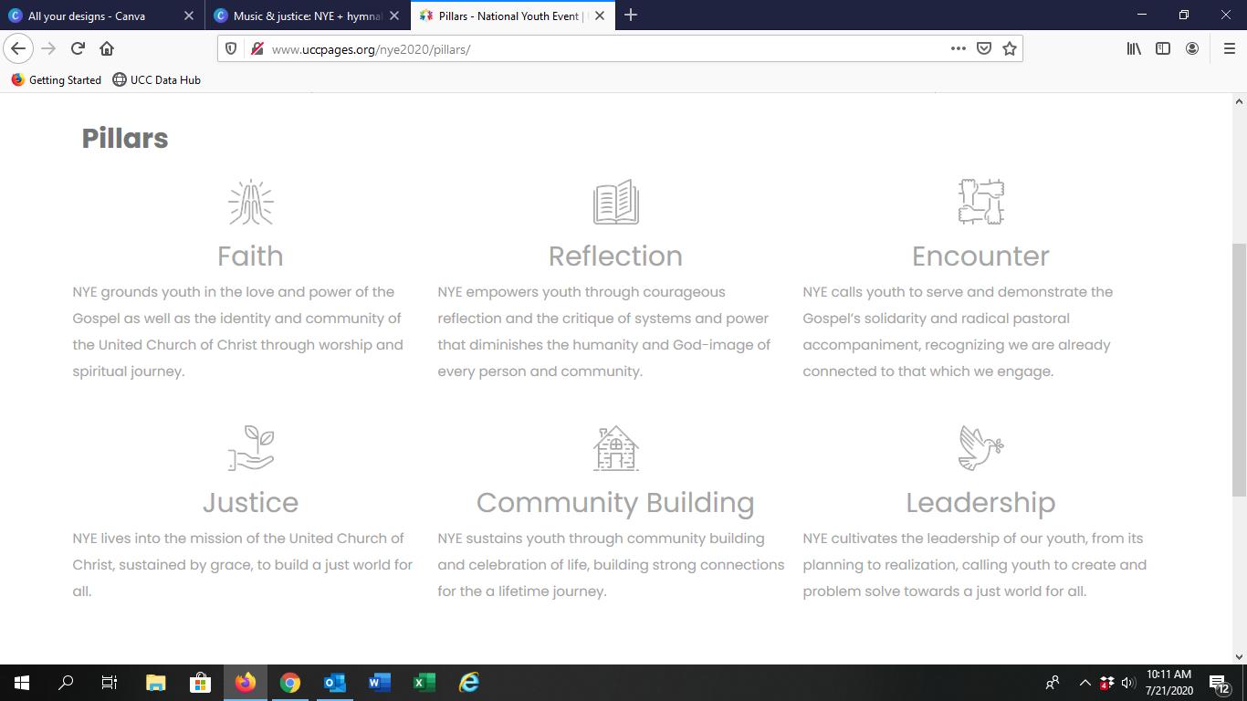 Screenshot of NYE 2020 pillars