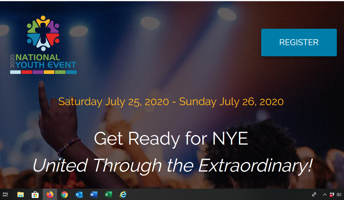 Screen shot from NYE 2020 website