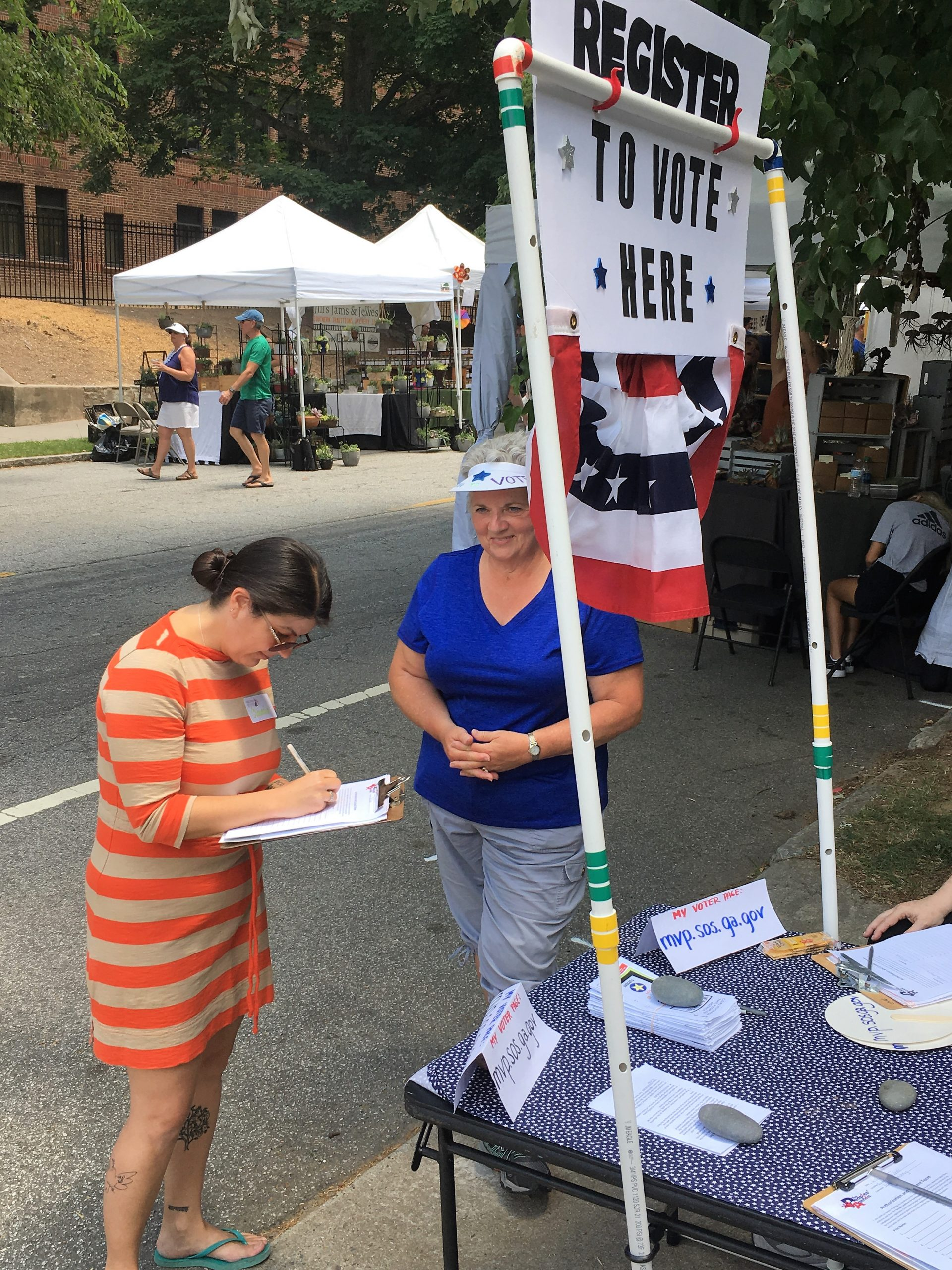 Voter registration outside Virginia-Highland Church