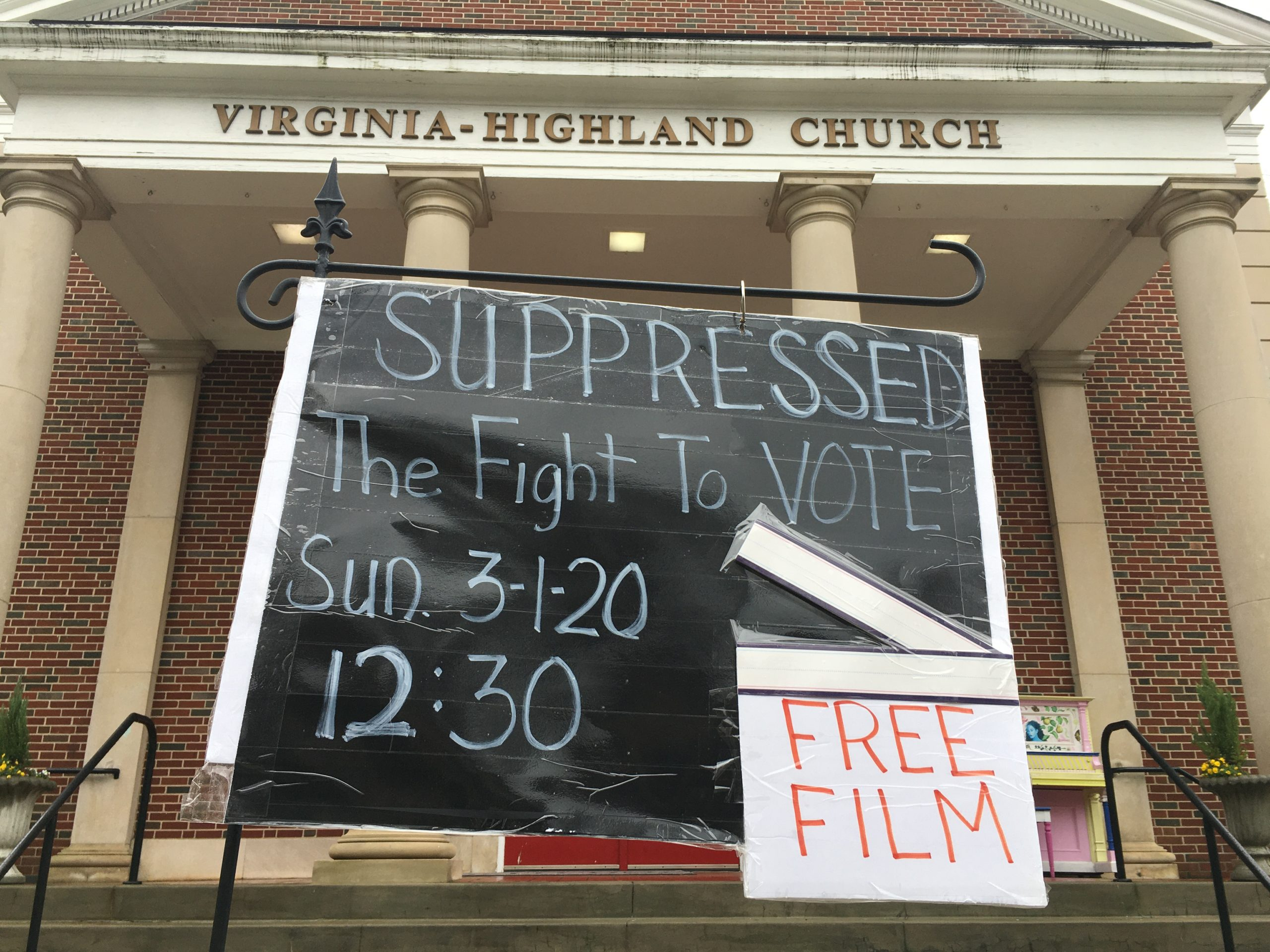 Film sign at Virginia-Highland Church 3/1/20