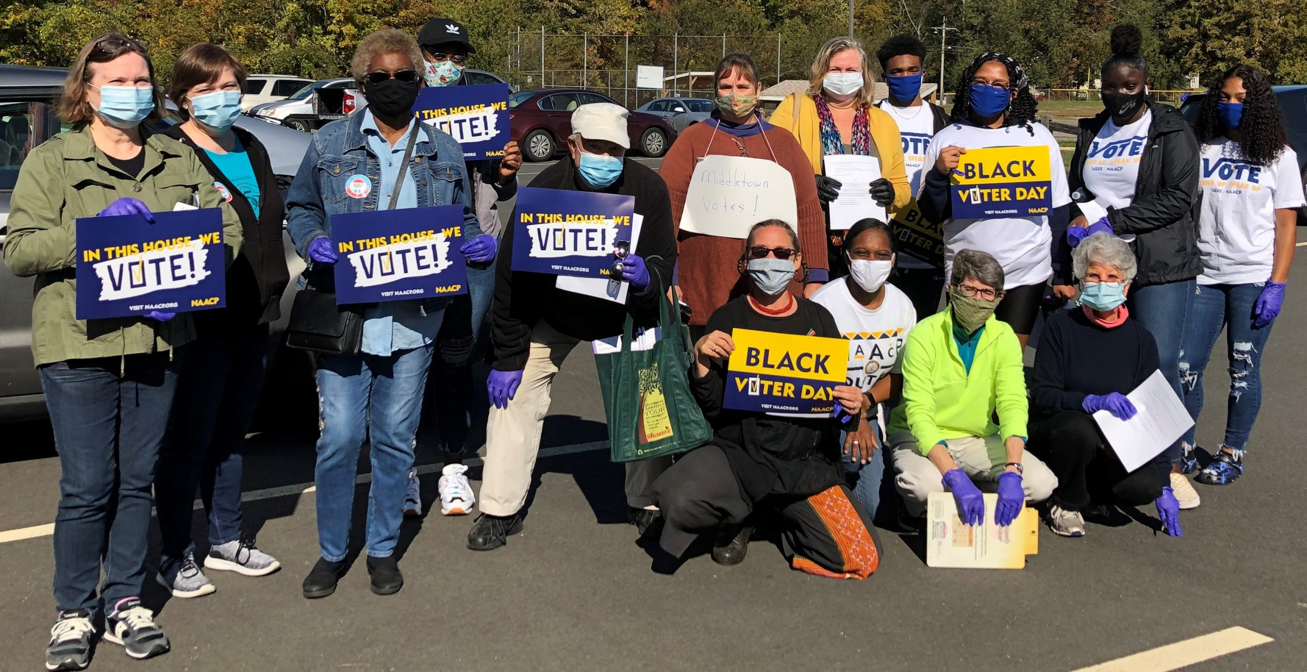 First Church Middletown and NAACP members before canvassing, 10/3/20