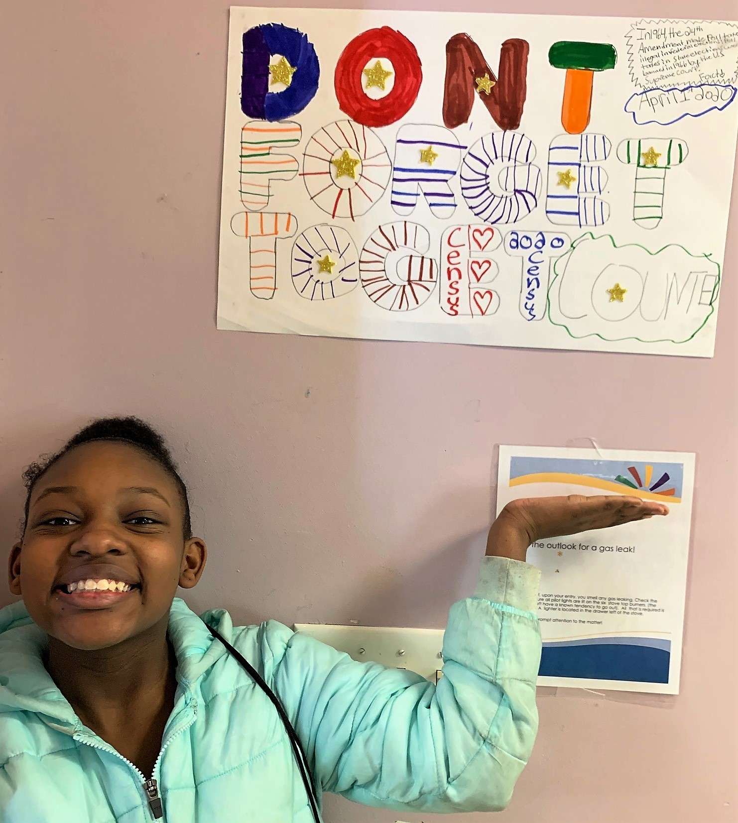 Participant in Grace UCC sign-making session, 2/22/20