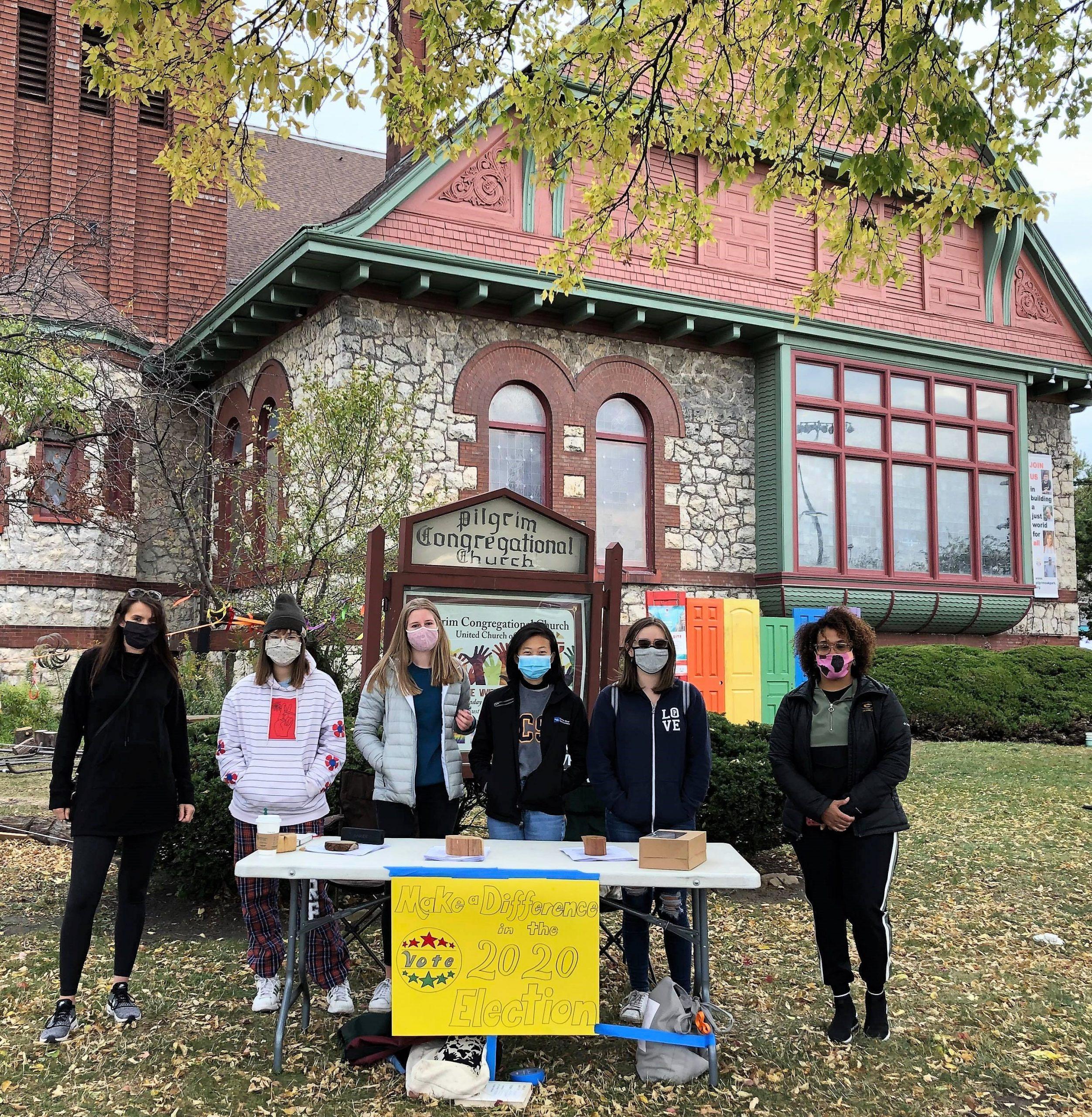 Voter table, Oak Park UCC, Ill., 10/19/20