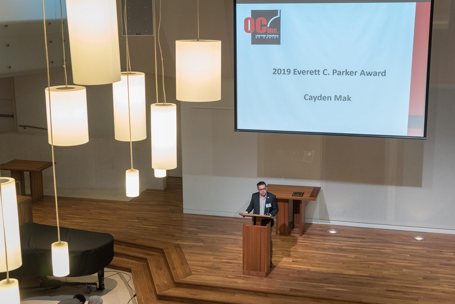 Cayden Mak speaking at Parker Lecture 2019