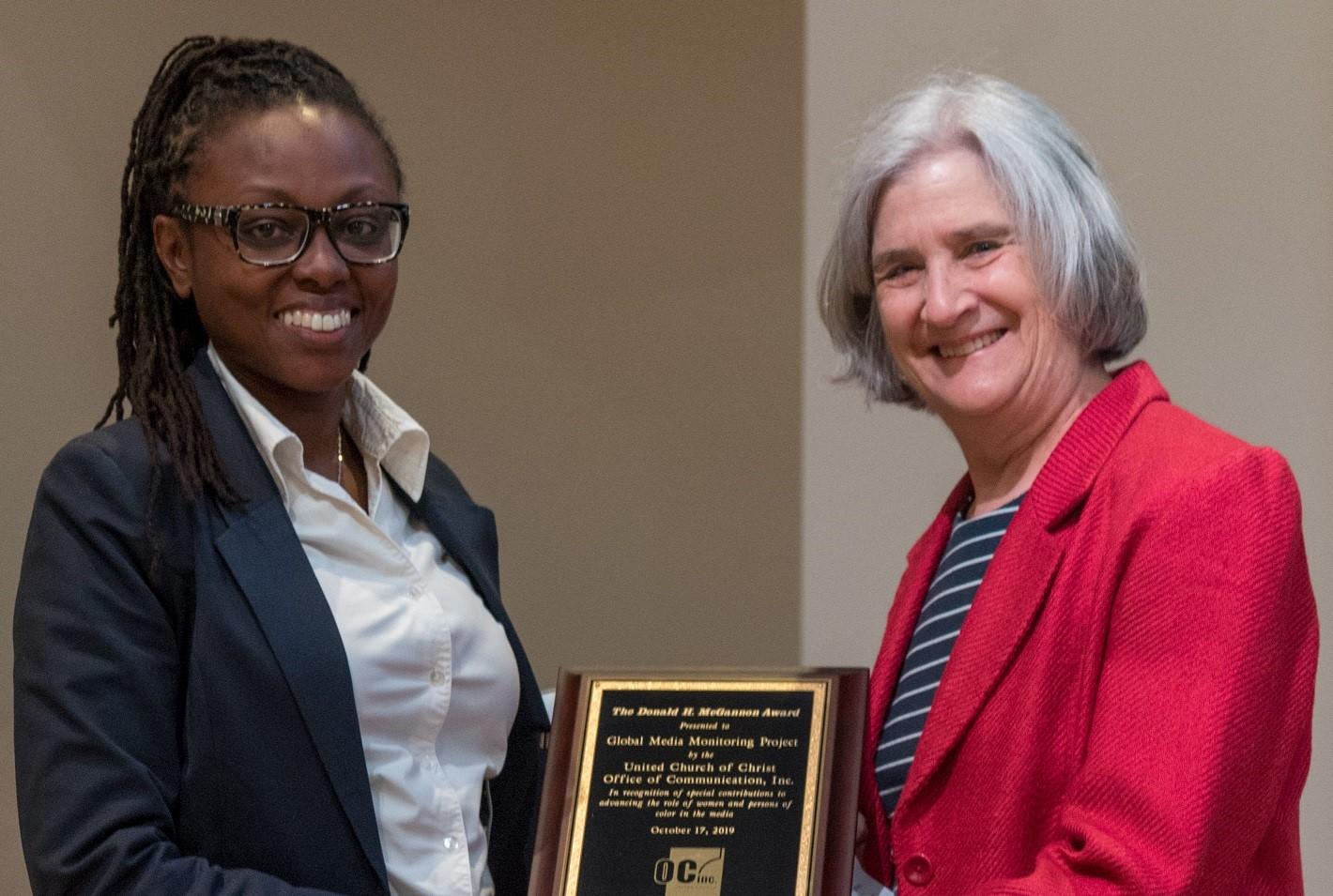 Macharia, Fitzgerald with McGannon Award