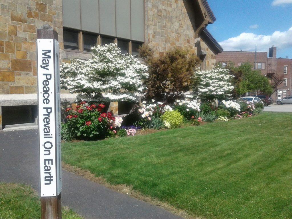 Peace pole, Congregational Church, UCC, Laconia, N.H.