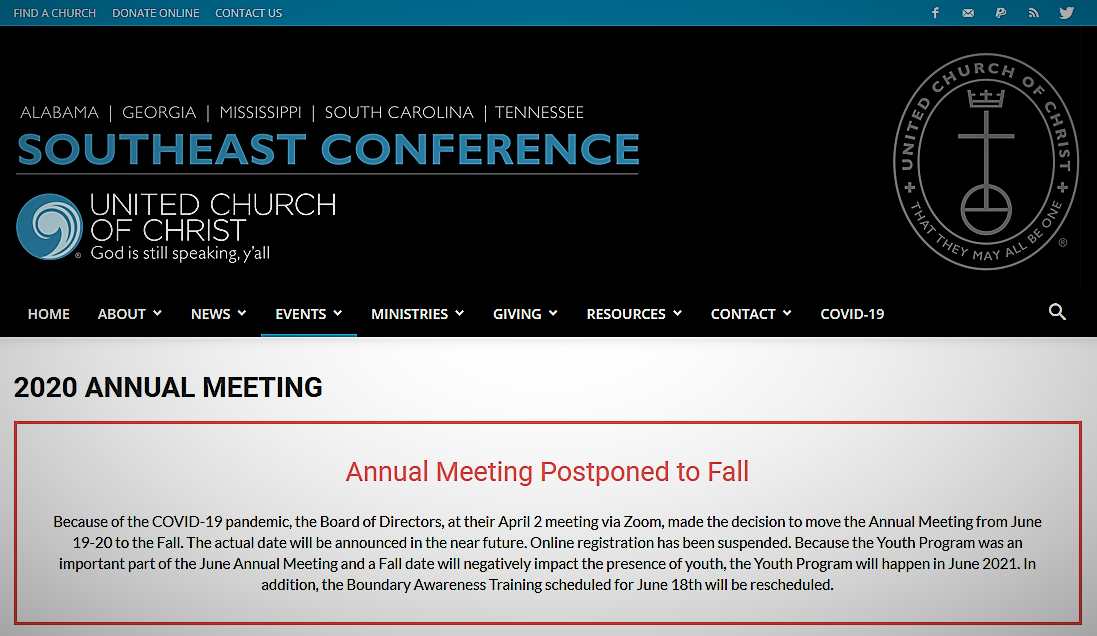 SE Conference 2020 annual meeting notice