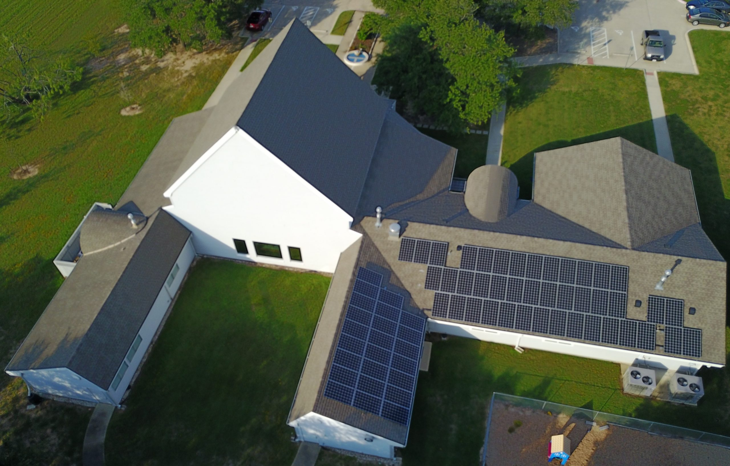 College Station solar panels aerial view