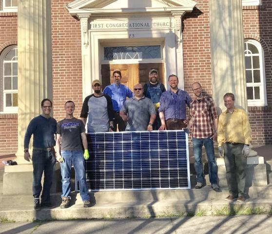 Solar panel offloading crew, Walla Walla, Wash., 2019