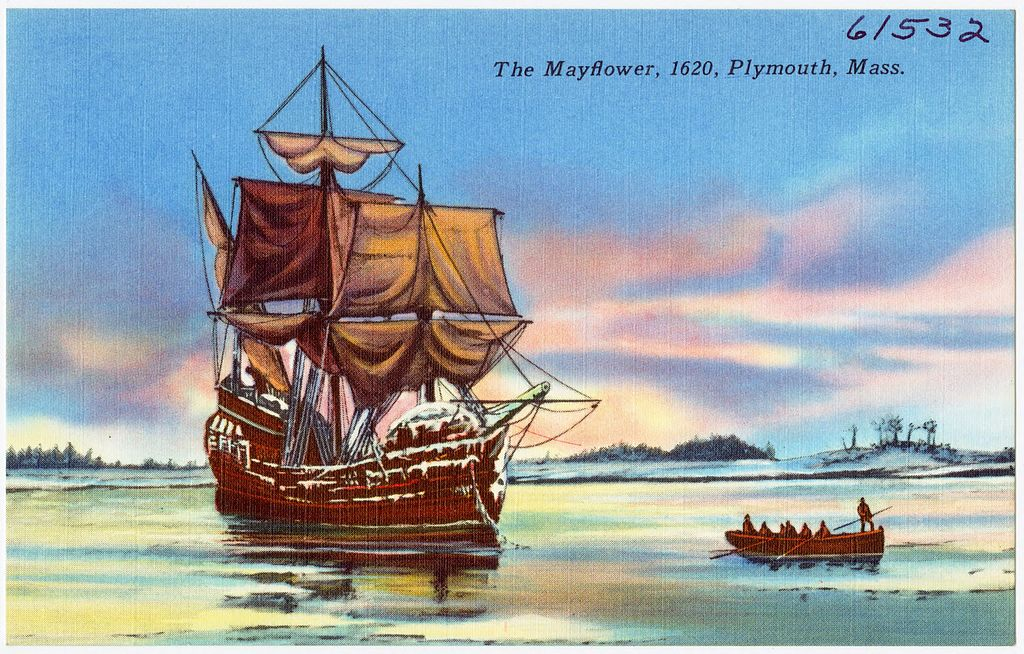 Mayflower ship image from Congregational LIbrary website