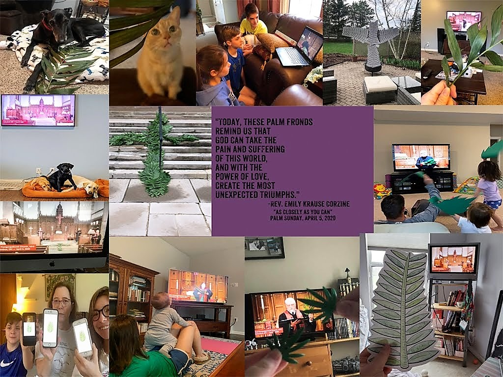 First Church Columbus remote Palm Sunday collage 4/5/20