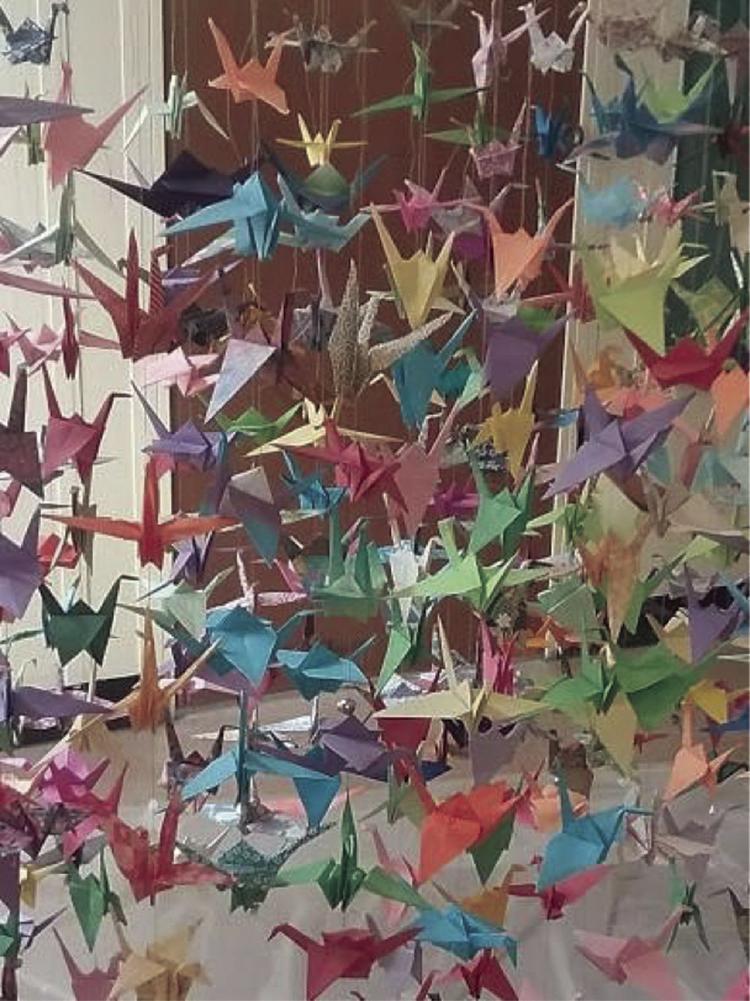 Peace cranes, Congregational Church, UCC, Laconia, N.H.