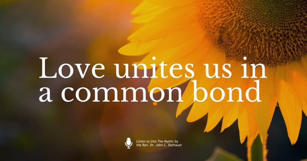 """Picture of a sunflower with a bee pollinating it with the words, """"Love unites us in a common bond."""" Listen to Into The Mystic by the Rev. Dr. John C. Dorhauer."""